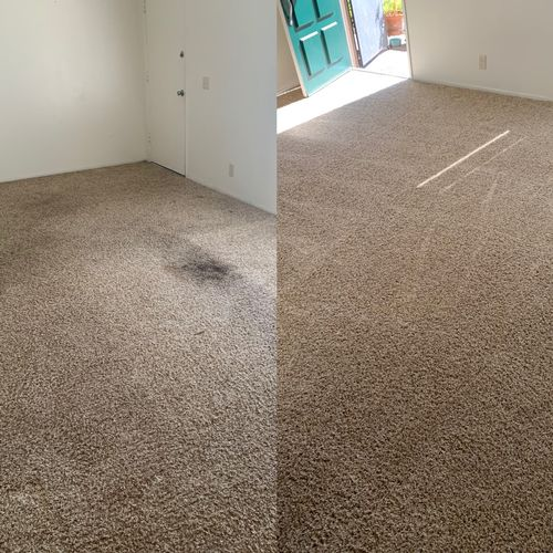 Soiled carpets before and after a move out cleaning.  3 bedroom 2 bath.