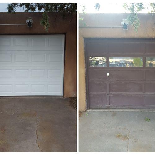 Wood door upgrade to triple layer insulated.