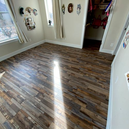 I did the trim work for this.  They hired another company to do the flooring.