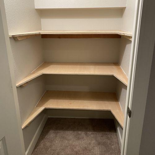 Shelves in a basement closet