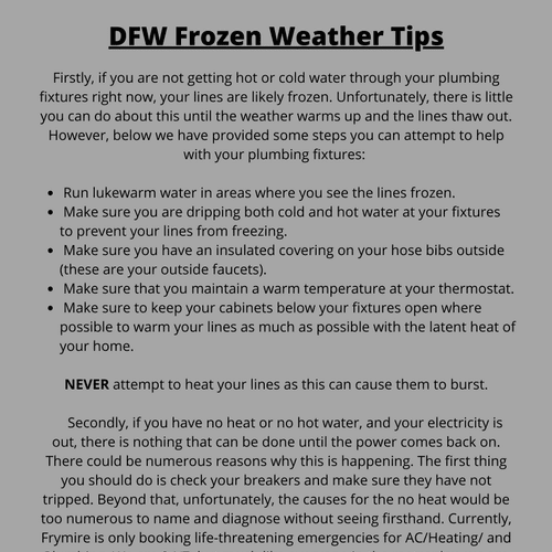 Dallas/Ft. Worth Extreme Cold Tips