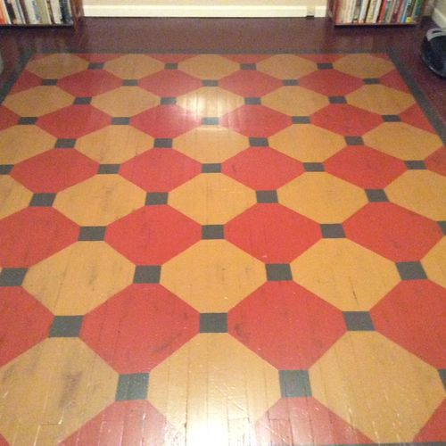 hand painted floor pattern