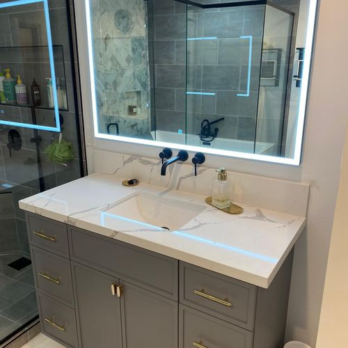 Vanity with mirror with light up frame