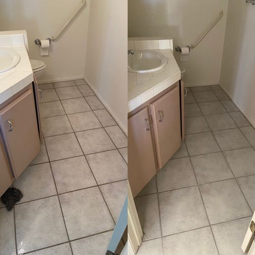 Before and after tile and grout cleaning during our move out cleaning.