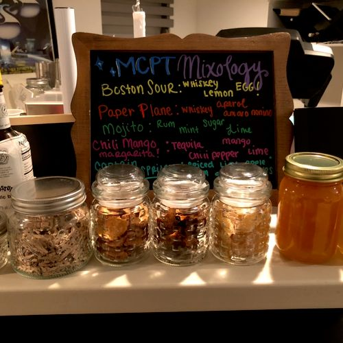 We do mixology classes with homemade syrups & home made candy garnishes!