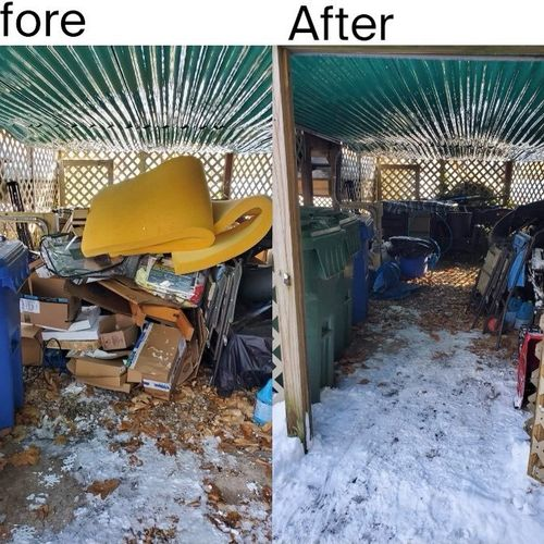 Under deck Storage Area clean out by our Crew! We do jobs of all sizes, big or small! Call today for a free estimate today!!