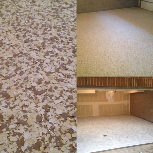 Epoxy floor before and after