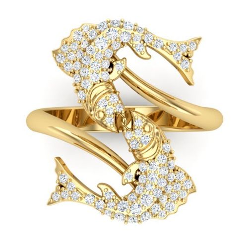 Pisces in gold and diamonds for Aphrodite and Eros