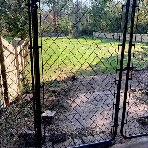 Chain link Gate with PT Wood Fence in Lancaster