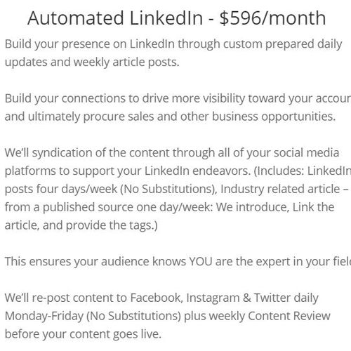 Automated LinkedIn - $596/month