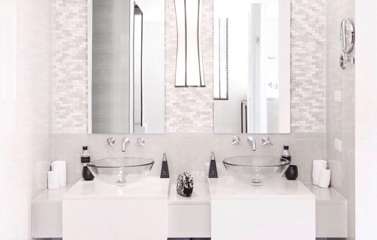 new bathroom sink and backsplash
