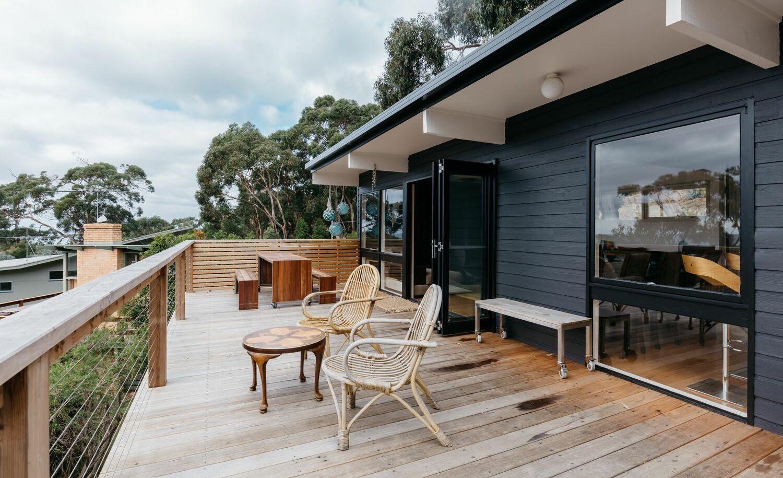 wood deck modern home