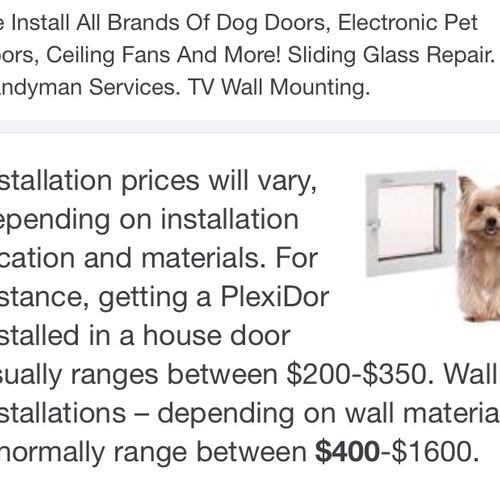 Wall installations are normally between $210-$280 with me & really all depends on material behind the walls.