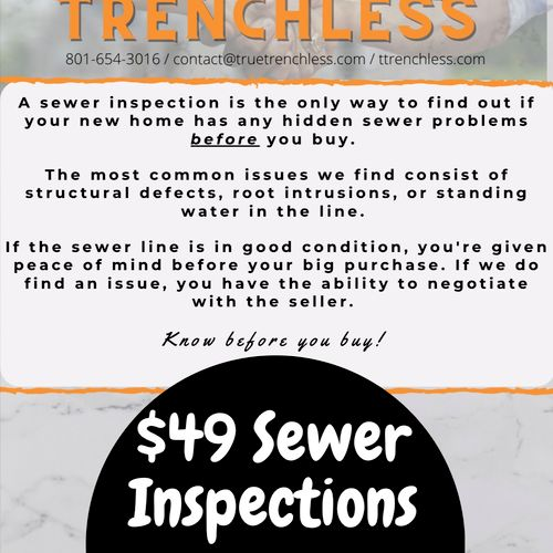 $49 Sewer Inspections for Home Buyers!