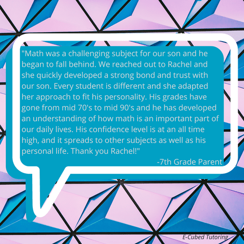 A parent testimonial provided on our website from a 7th grade parent!