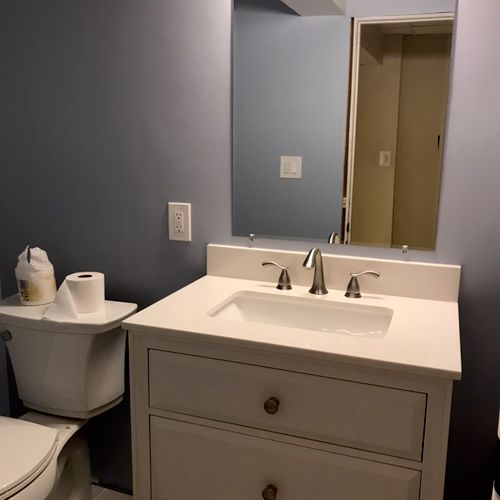 Toilet and vanity installation