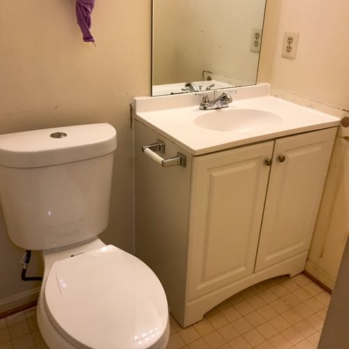 Toilet and vanity bathroom installation