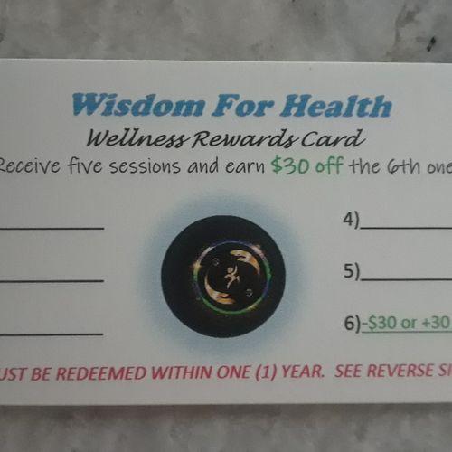 Wellness Rewards Card (front view)