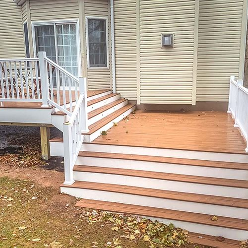 Transitional steps onto the lawn