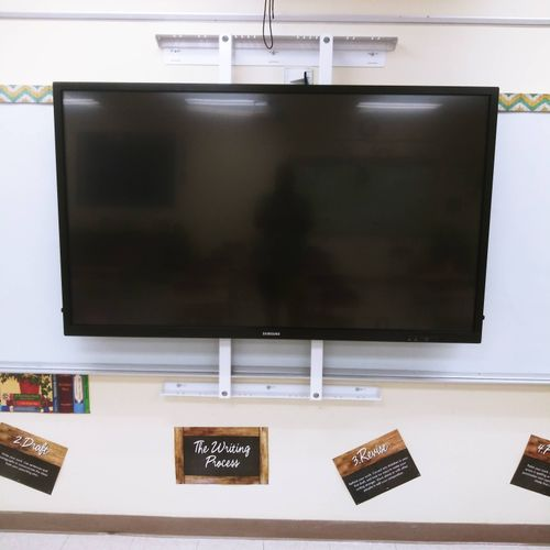 """75"""" Tv installed over whiteboard in Middle school classroom"""