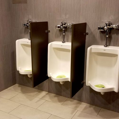 Clean and straight urinal install at Free Chapel Church