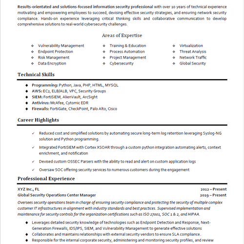 Cybersecurity Professional Resume Sample