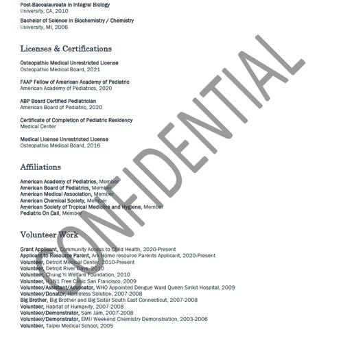 Physician Resume Sample Pt2