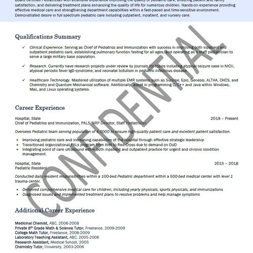 Physician Resume Sample Pt1