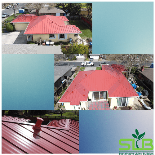 After picture, red metal roof in Napa County