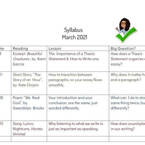 Simple Syllabus for current student