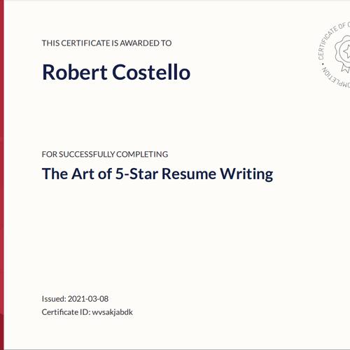 Certified 5 Star Resume Writer