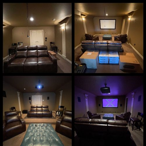 A before and after picture of a 7.2 home theater install. Audio (klipsch speaker's) (Epson) projector