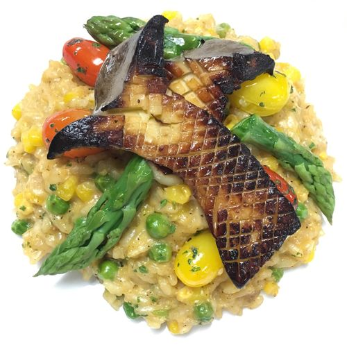 sweet corn risotto, king trumpet mushrooms, asparagus, cherry tomatoes