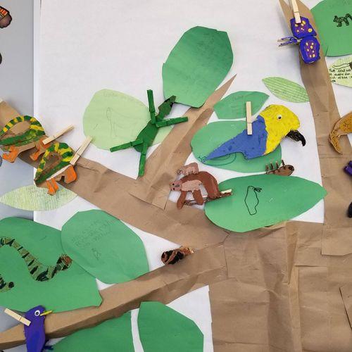 Rainforest tree with kids' art!