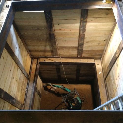 Shoring for new elevator pit