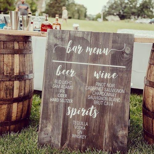 Whiskey Barell Bar set up