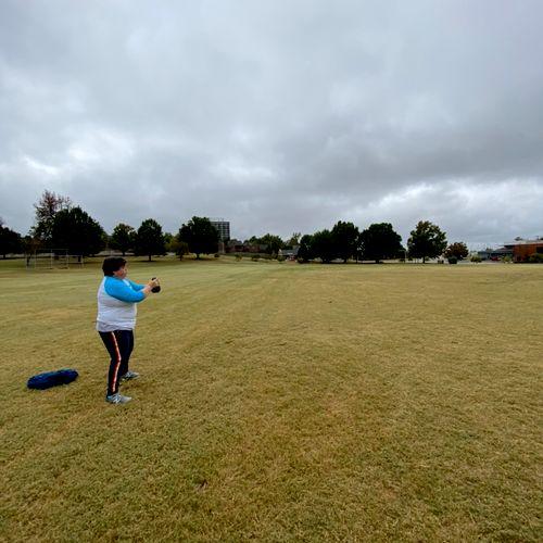 Training outside at Veteran Park