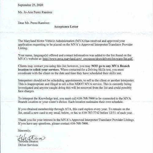 MVA Acceptance Letter