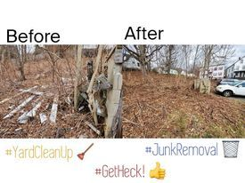 Before and After Yard Cleanup by Heck Removal!🤩Let us save you time and money, and help get it done. We are ALWAYS cheaper than a dumpster!