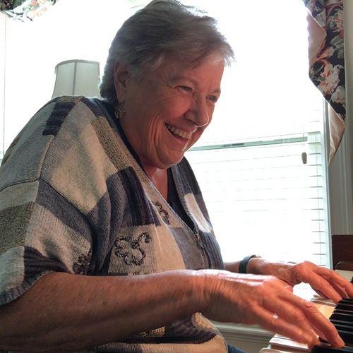 Senior adult piano student