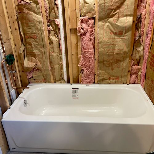 Installing new tub and valve