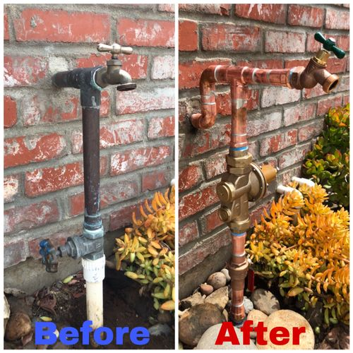 Water Service Manifold Before & After