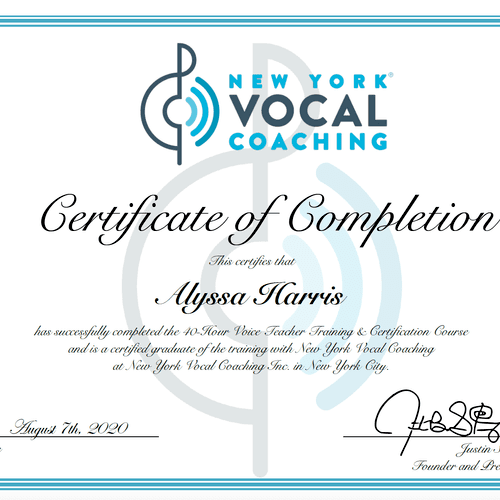 I am a certified Vocal Coach from one of the top vocal studios in the country, New York Vocal Coaching.
