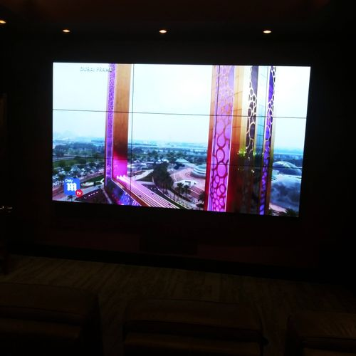 video wall in movie room. 9 tv's one picture.