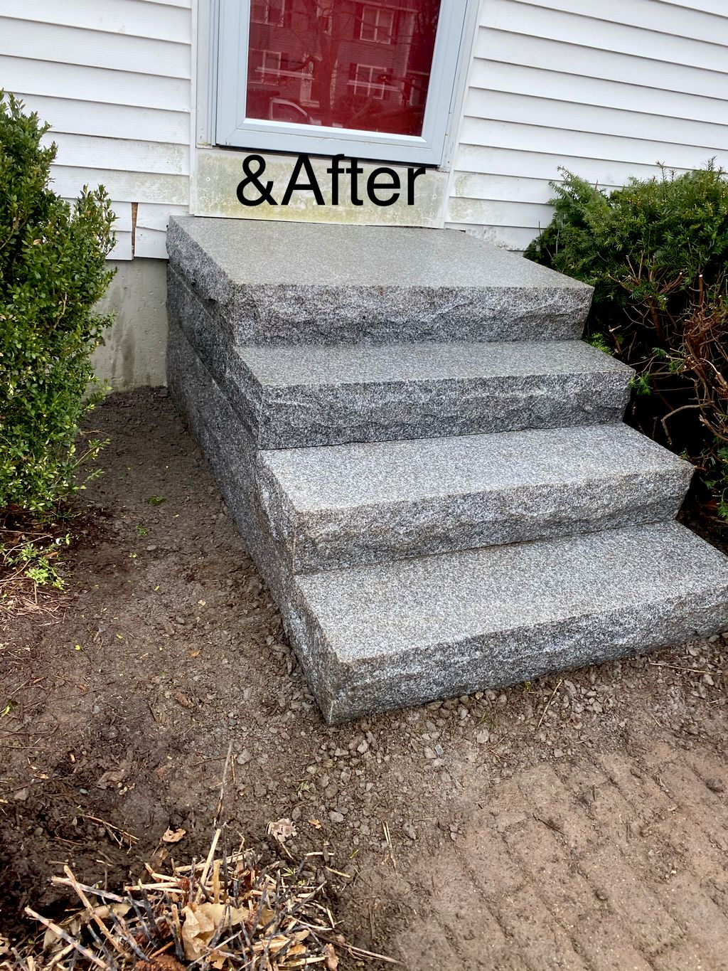 Old concrete stairs into a new granite stair