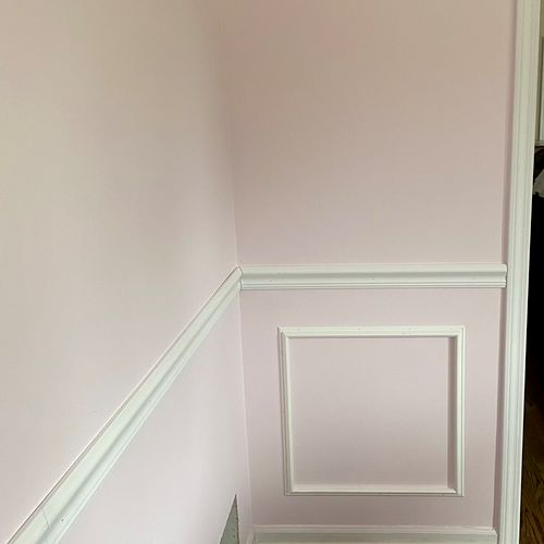 Chair rail and shadow boxing for office area.