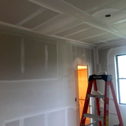 Whole room Drywal tape & Float professional install after Ice Storm