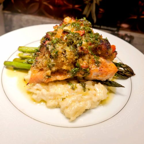 Shrimp Stuffed Salmon with Creamy Risotto and Asparagus