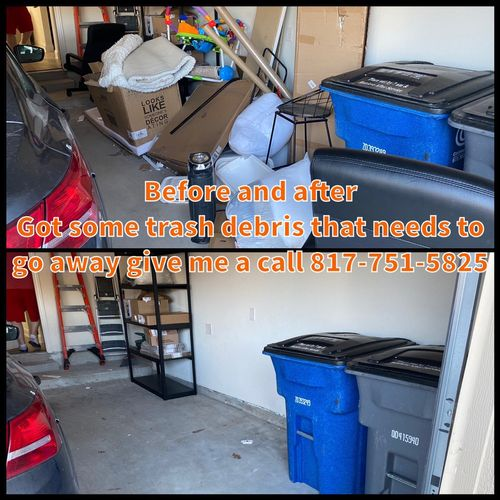Trash debris pick up in Allen, Tx