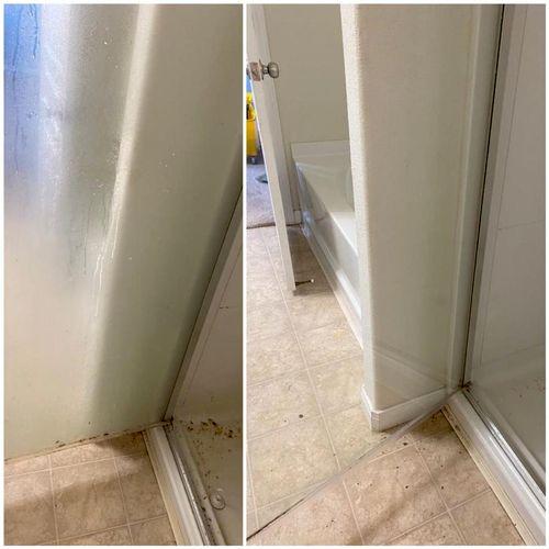 Hard water shower door removal
